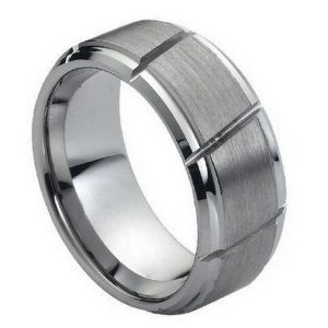Tungsten Carbide Multiple Diagonal Grooves Brushed Center