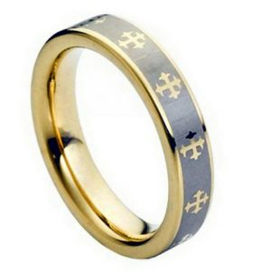 Yellow Gold Plated Laser Engraved Crosses Design