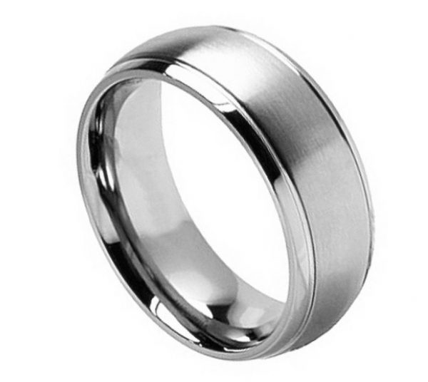 Titanium Ring Brushed Center Shiny Grooved Edge