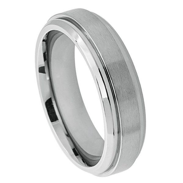 Titanium Ring Raised Brushed Center Stepped Edge