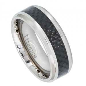 High Polish Titanium Ring with Black Carbon Fiber Inlay