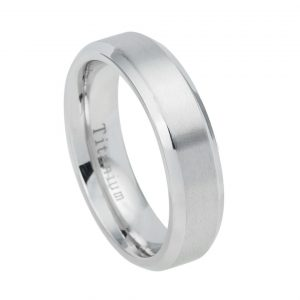 White Titanium Ring Brushed Center Shiny Beveled Edge