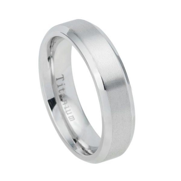White Titanium Ring Brushed Center Shiny Beveled Edge