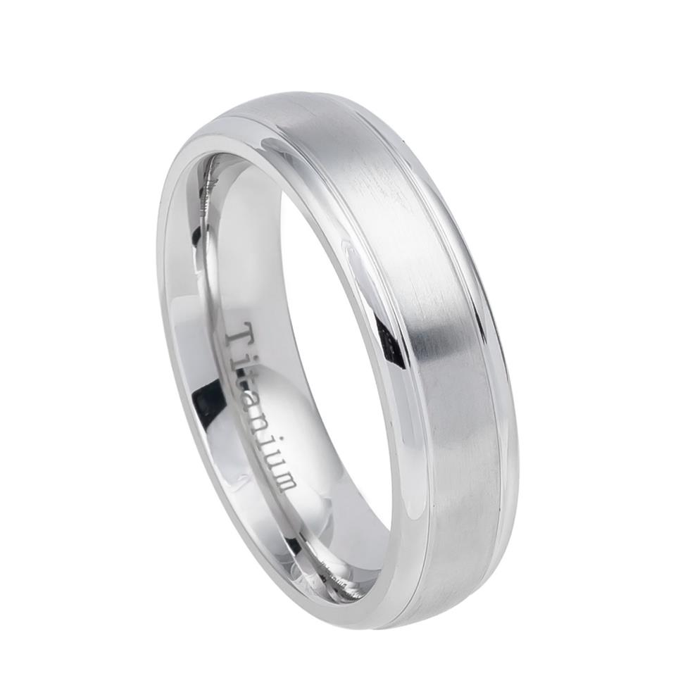 White Titanium Ring Domed Brushed Center Step Edge Womans