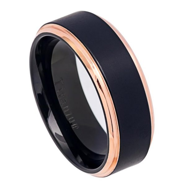 Two-Tone Black IP & Rose Gold IP Brushed Center Step Edge Titanium Ring