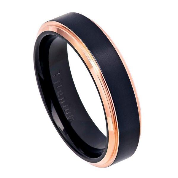 Two-Tone Black IP & Rose Gold IP Brushed Center Step Edge Titanium Ring Womans