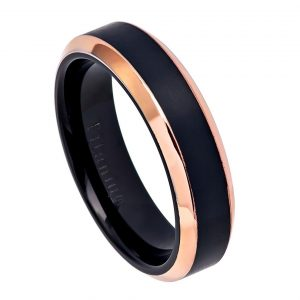 Two-Tone Black IP & Rose Gold IP Brushed Center Shiny Beveled Edge Titanium Ring Womans