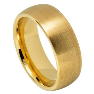 Yellow Gold IP Plated Brushed Domed Classic Style
